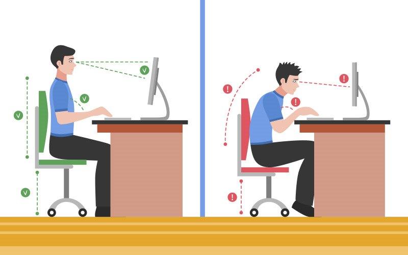 Postura correcta sentado frente al ordenador